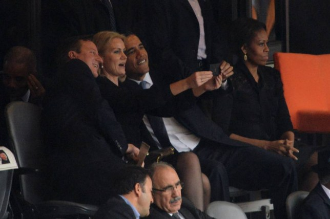 Selfies at funerals? David Cameron and Barack Obama pose at memorial for Nelson Mandela