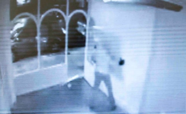 Video installation: CCTV catches a thief taking the signed Damien Hirst paintings (Picture: PA)