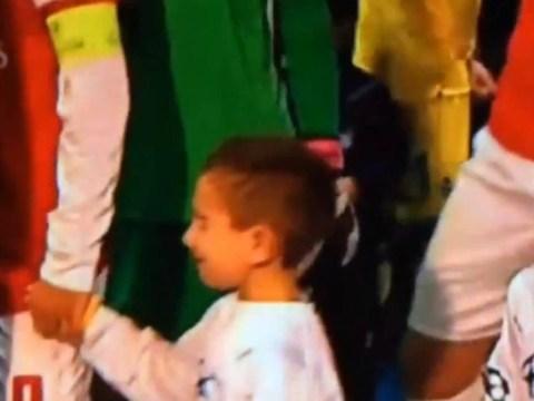 Arsenal's Mikel Arteta's mascot bursts into tears at Napoli match – video