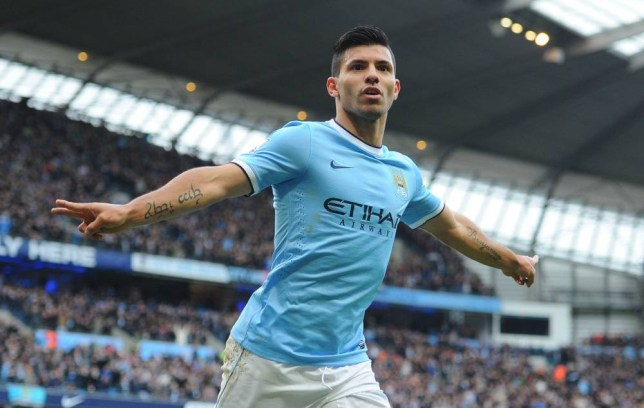 Manchester City's Sergio Aguero celebrates scoring his teams first goal against Arsenal, during the Barclays Premier League match at The Etihad Stadium, Manchester. (Picture: PA)