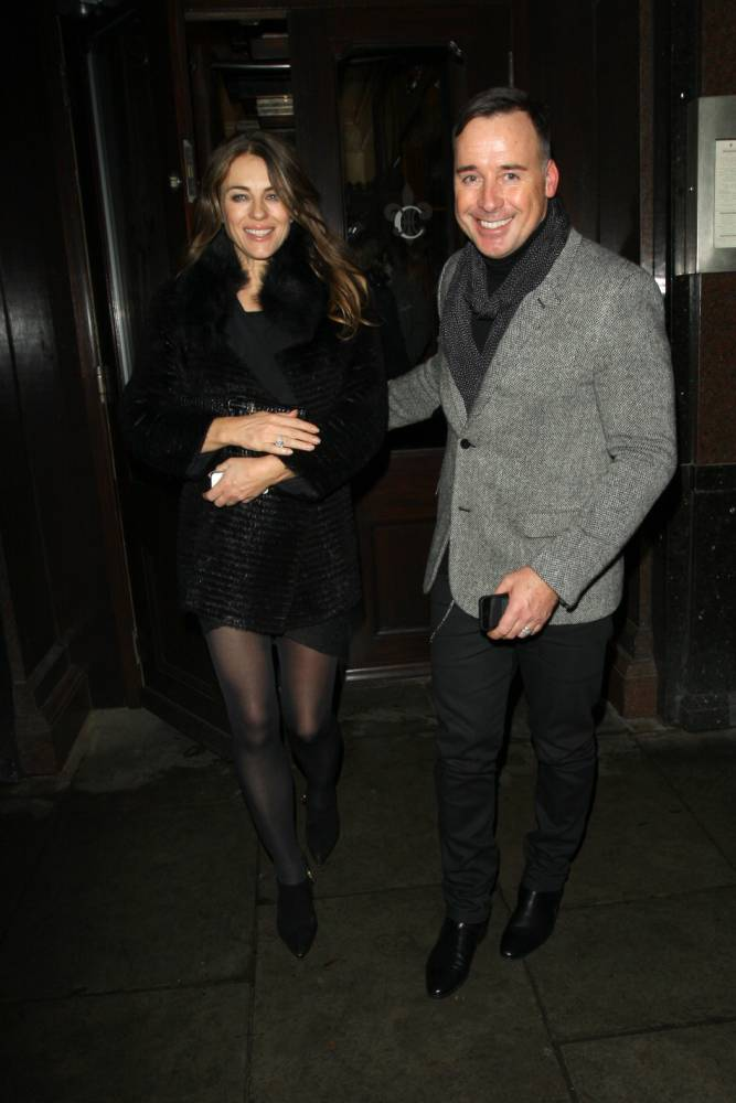 Elizabeth Hurley steps out with David Furnish and Susannah Constantine to get over Shane Warne