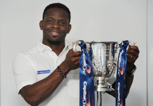 Louis Saha gets his hands on the Capital One Cup