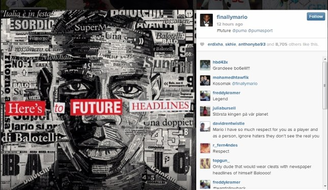 Mario Balotelli showed off his latest newspaper headlines piece (Picture: Instagram/finallymario)
