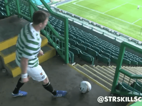 Celtic fan produces stunning crossbar challenge effort – from the stands