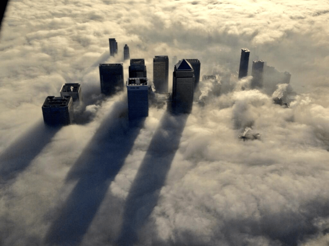 Three stunning photos of a foggy London from the sky you need to see
