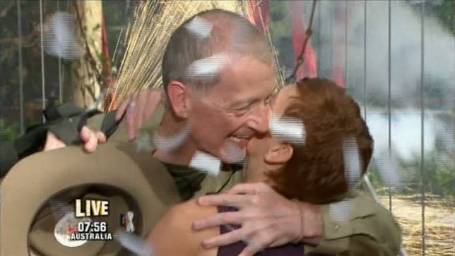 Steve Davis embraces his wife following his I'm A Celebrity exit (Picture: ITV)