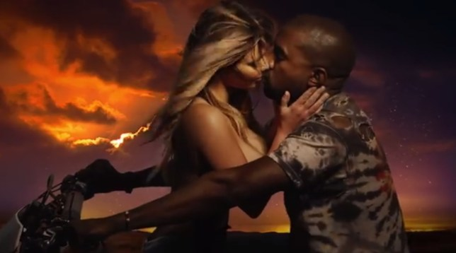 Kim Kardashian snogs Kanye West on a motorbike in the Bound 2 video (Picture: Def Jam Recordings)