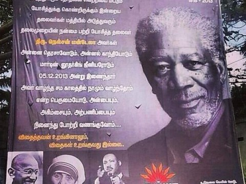 Morgan Freeman mistaken for Nelson Mandela in tribute poster fail