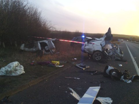 Driver's 'incredible escape' after car sliced in two during crash