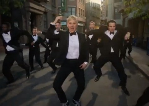 Here we go!: Ellen DeGeneres is suited and booted in fun musical Oscars 2014 promo