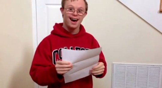 Video: Beautiful moment Down's syndrome sufferer finds out he's off to university