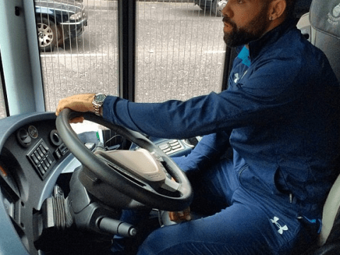 On the buses: Sandro drives Tottenham team coach to Craven Cottage victory
