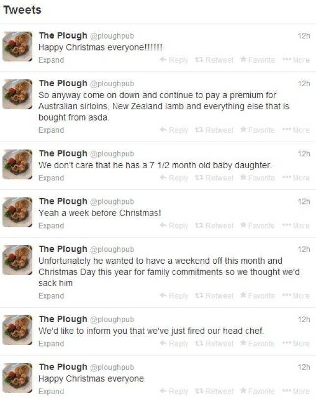 A head chef laid into his employers last night on social media (Picture: Twitter/@ploughpub)