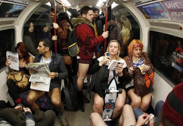 No Trousers Day flashmob on the London Underground