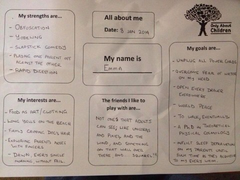 Dad answers daycare questionnaire for baby daughter and lists 'rapid digestion' as a strength