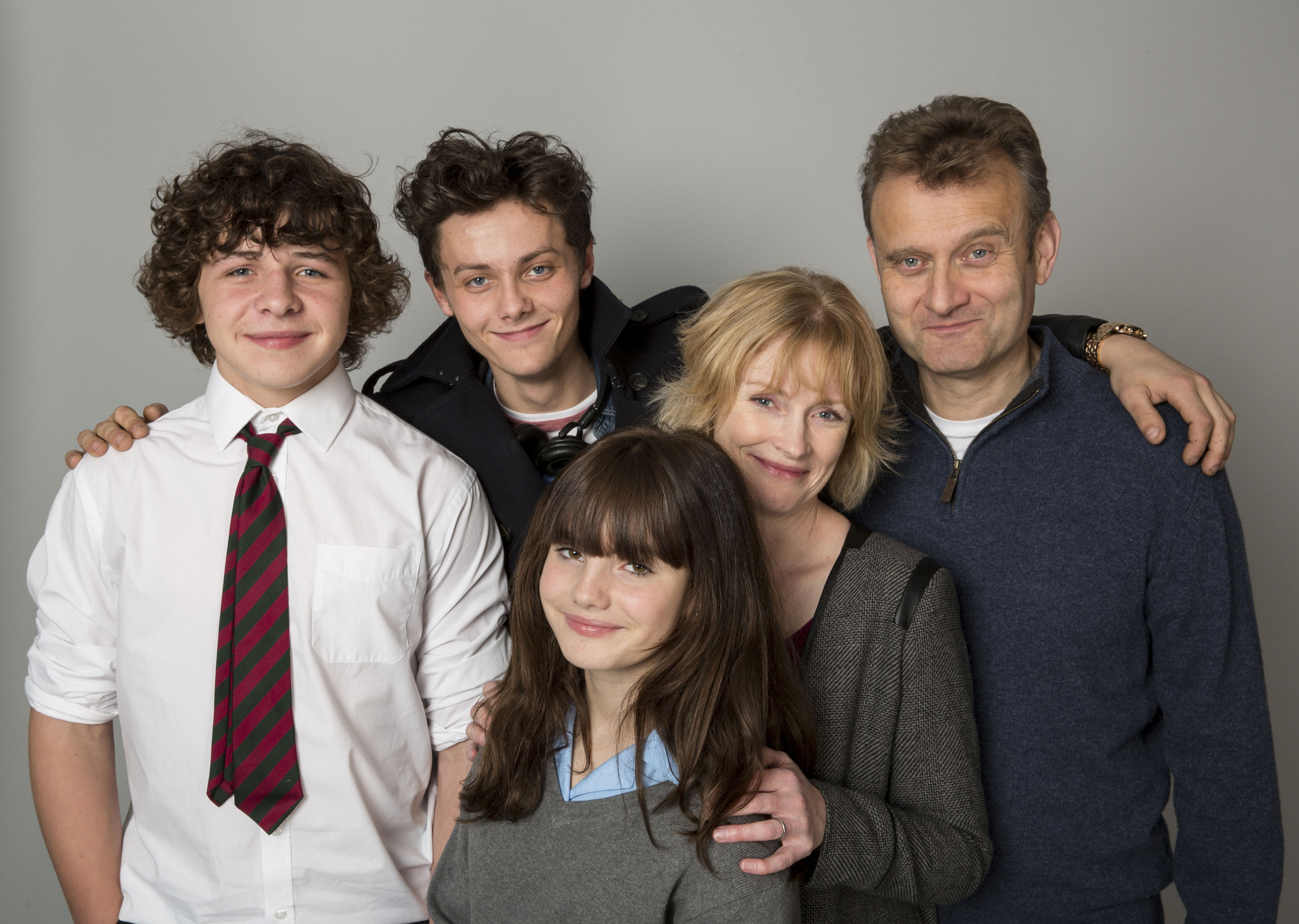 Outnumbered series five: Claire Skinner, High Dennis, Tyger Drew Honey, Daniel Roche, Ramona Marquez