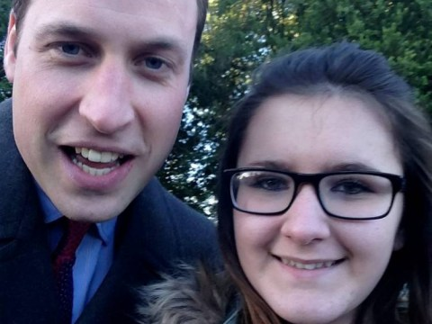 'You can't beat a good selfie': Prince William poses for Christmas Day photo with schoolgirl