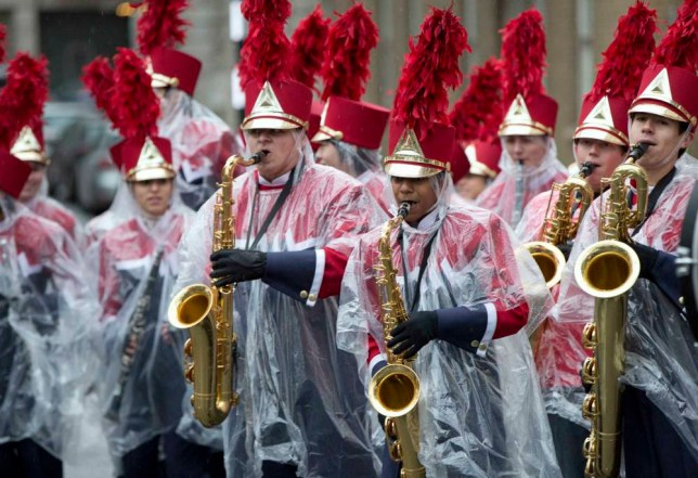 New Year's Day parade London: The marching band were properly dressed for the occasion