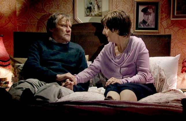 Julie Hesmondhalgh and David Neilson film Hayley and Roy's final scene together (Picture: ITV)