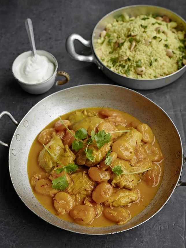 Lindsey Bareham's saffron chicken with apricots and cardamom (Picture: Chris Terry)