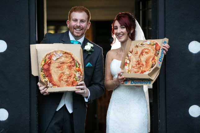 Kieran and Natasha Morris: Newlyweds from Bury, Manchester, give each other pizza portraits from Dominos