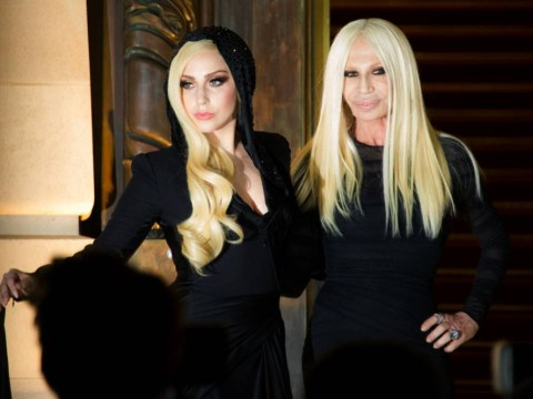 Looking to the future: Lady Gaga and Donatella Versace look like mother and daughter at Paris fashion show