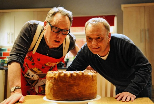 Vic Reeves and Bob Mortimer share their love of pork pies in House Of Fools (Picture: Christopher Baines)