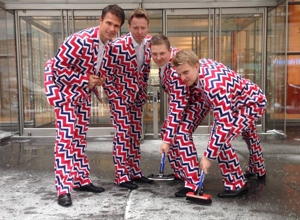 In this image provided by Loudmouth Golf,  members of the Norway's Men's Olympic Curling Team from left Thomas Ulsrud, Torgor Nergard, Christoffer Svae, and Havard Vad Petersson wear their new Sochi 2014 suits as they pose for a photographer in New York Tuesday Jan. 21, 2014. So what will be the must-see moments at the Sochi Olympics? When it comes to curling, thereís no doubt what the show-stopper will be. Yes, Norwayís menís team is back with their crazy, funky pants. And theyíll be more outrageous than ever when the players emerge for their first game at the Ice Cube.   (AP Photo/Cassie Kovacevich, Loudmouth Golf)
