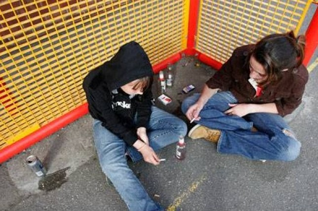 Teenagers hanging out at a council estate. ref: AGGGR9  ** THIS IMAGE IS LO-RES ** beers binge Teenagers drinking drinking bottles alcohol alcopops jeans youth children girls women time Britain England London hanging boys cans addictions cigarettes health smoke smoking booze denim hoodies following the crowd kids underage young youthful outdoors outside two people Caucasians white people females woman urban day daytime British English UK color colour council estates playgrounds out teens tom tomboys fags dangers dangers