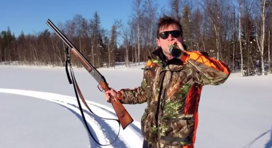 Don't try this at home: Swedish hunter opens beer with a shotgun
