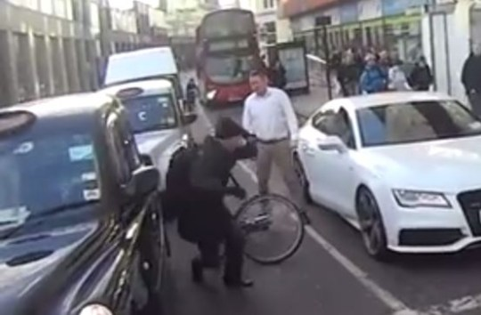 YouTube video of a apparent road road attack against a cyclist in Farringdon, central London