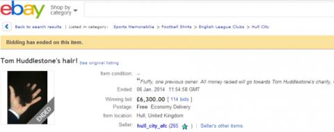 Mad! Hull City fan sells Tom Huddlestone's hair on eBay for £6,300