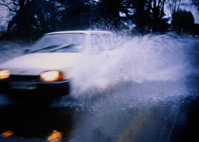 car, puddle, rain