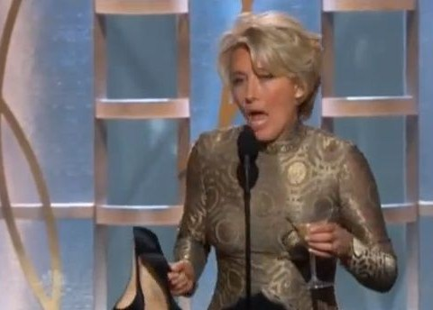 'Tipsy' Emma Thompson appears at the Golden Globes with shoes in one hand and a martini in the other
