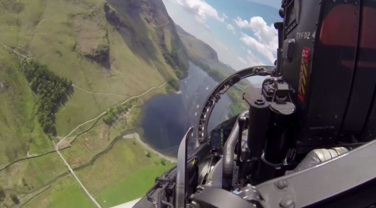 Video from inside the cockpit of an RAF Typhoon fighter jet flying over the Lake District by Metropolis Entertainment