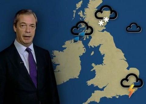 Nigel Farage presents the weather forecast after Ukip same-sex marriage gaffe