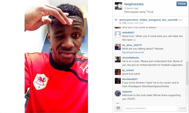 Wilfried Zaha has completed his first training session with Cardiff (Picture: Instagram/longlivezaha)