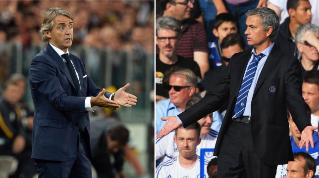 FILE PHOTO - EDITORS NOTE: COMPOSITE OF TWO IMAGES - Image Numbers 182933606 (L) and 176743320) In this composite image a comparison has been made between Galatasaray AS coach Roberto Mancini (L) and Chelsea manager Jose Mourinho. Galatasaray and Chelsea meet in the UEFA Champions League Round of 16 with the first leg on Febuary 26, 2014 and the 2nd leg on March 18, 2014. ***LEFT IMAGE*** TURIN, ITALY - OCTOBER 02: Galatasaray AS coach Roberto Mancini reacts during UEFA Champions League Group B match between Juventus and Galatasaray AS at Juventus Arena on October 2, 2013 in Turin, Italy. Getty Images/Getty Images
