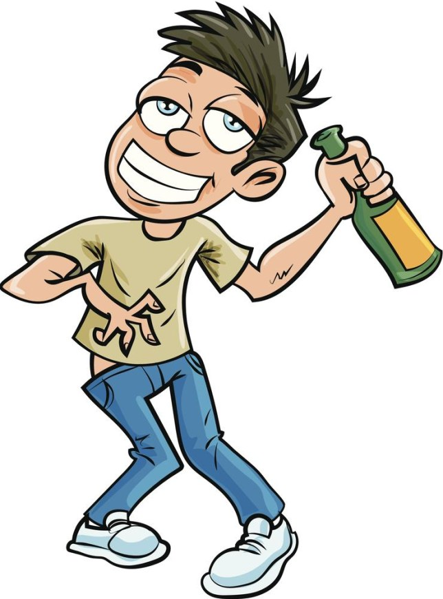Cartoon drunk man with champagne bottle. Isolated antonbrand/antonbrand