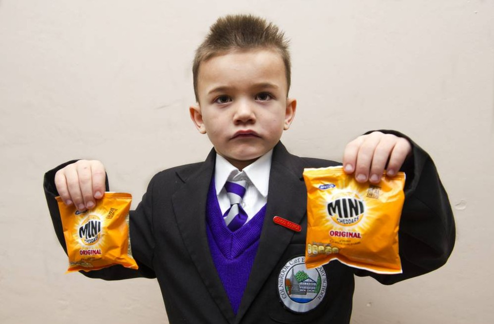 INS News Agency Ltd...31/01/2014 ****************Picture by Vagner Vidal******************* Schoolboy Riley Pearson, 6, has been excluded from Colnbrook C of E School over a packet of mini cheddar in his lunchbox.  See copy INSril