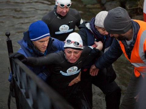 Davina McCall tested for hypothermia after gruelling one-mile swim in Lake Windemere for Sport Relief