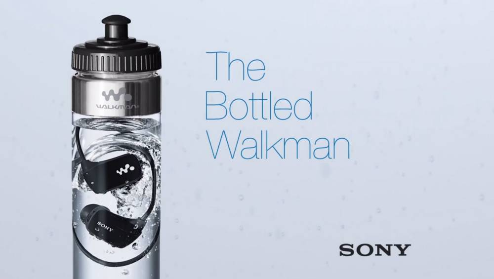 Sony sells its waterproof MP3 player in a bottle of water