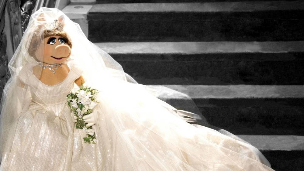 And the bride wore...Miss Piggy pictured in her wedding dress for the Muppets Most Wanted film (Picture: Press Association)