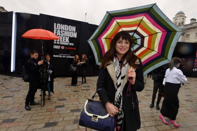 A nervous Amy Dawson arrives at London Fashion Week (Picture: Daniel Lynch)