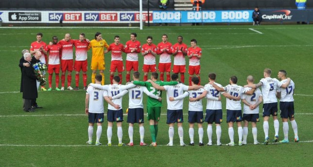 A minutes silence before the game during the Sky Bet League One match at Deepdale, Preston. PRESS ASSOCIATION Photo. Picture date: Saturday February 15, 2014. See PA story SOCCER Preston. Photo credit should read: Dave Howarth/PA Wire. RESTRICTIONS: Editorial use only. Maximum 45 images during a match. No video emulation or promotion as 'live'. No use in games, competitions, merchandise, betting or single club/player services. No use with unofficial audio, video, data, fixtures or club/league logos.