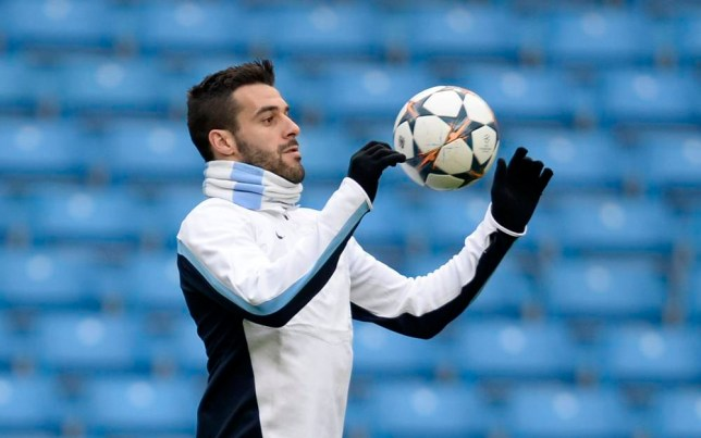 Manchester City's Alvaro Negredo controls the ball during a training session at the Etihad Stadium in Manchester, northern England, February 17, 2014. Manchester City will play Barcelona in their last Champions League round of 16 soccer match on Tuesday. REUTERS/Nigel Roddis (BRITAIN - Tags: SPORT SOCCER)