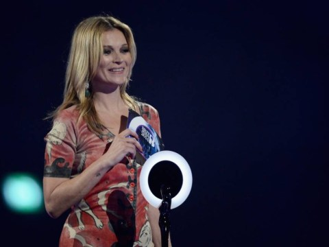 Brit Awards 2014: Kate Moss wears iconic Ziggy Stardust 'rabbit' suit to collect David Bowie's best British male gong
