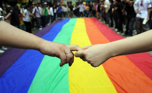 Gay and lesbian activists form a human chain around a rainbow flag during celebrations marking the fourth annual International Day Against Homophobia (IDAHO) in Hong Kong on May 18, 2008. The International Day Against Homophobia, marked in most places around the world on May 17, was launched in 2005 to commemorate the day in 1990 when the World Health Organisation removed homosexuality from its list of disorders. AFP PHTO/TED ALJIBE (Photo credit should read TED ALJIBE/AFP/Getty Images)
