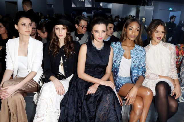 The glamorous front row at H&M's AW14 show in Paris, including Miranda Kerr, Jourdan Dunn and Jessica Alba (Picture: Alessandro Lucioni)