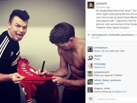 John Arne Riise collects signed Steven Gerrard shirt 'for a friend'